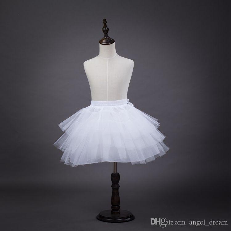 Marka Yeni Kızlar Çiçek Kız Elbise Düğün için Petticoats 3 Katmanlar Hoopless Beyaz Kısa Çocuklar Resmi Giyim Kabarık Etek Çocuk / Çoc ...