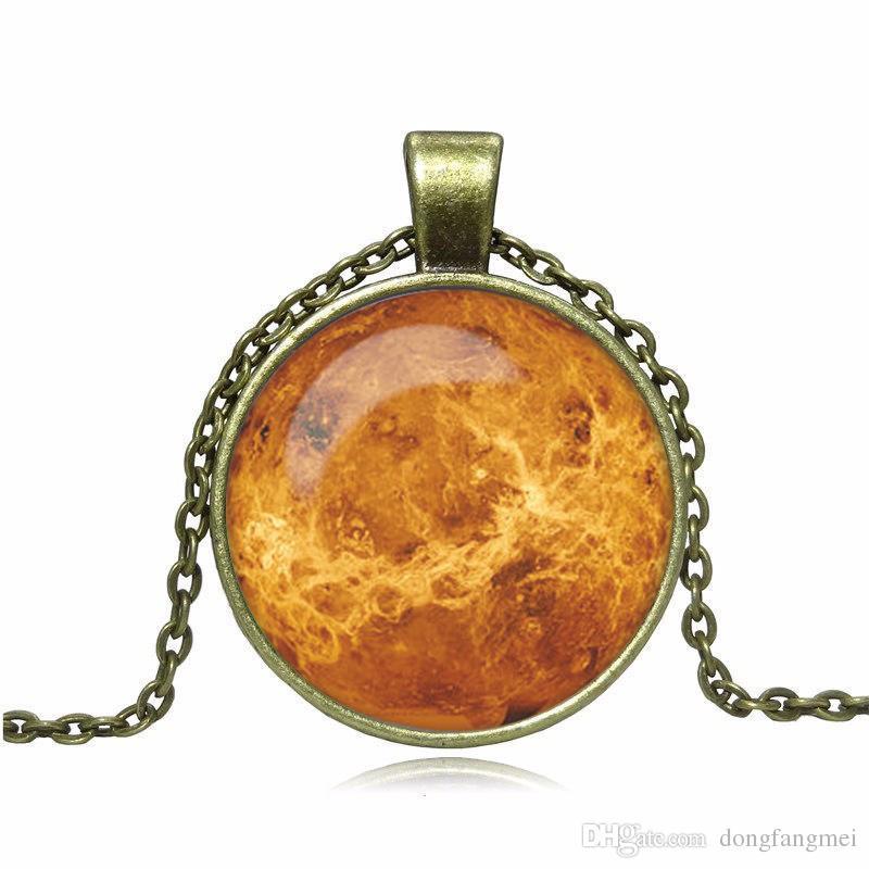 Venta caliente universo explosivo luna cielo luna gema collar de bronce antiguo suéter cadena retro WFN554 con cadena orden de la mezcla 20 unids mucho