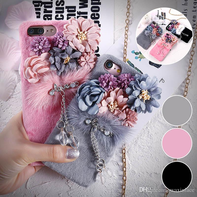 Fashion Phone Case For Apple iPhone 7 7 Plus 6 6S Plus Phone Cover Floral Flower Crystal Pendant Plush Hard Back Cases Shell