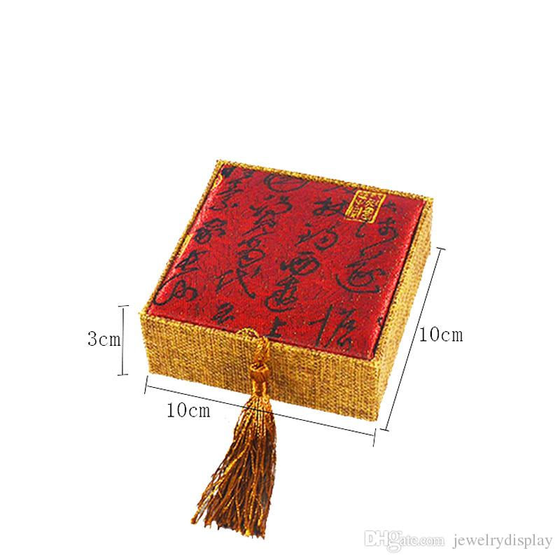 Jewelry Gift Box Linen Bracelet Cases Jewellery Display Organizer Storage Bag 10*10*3cm