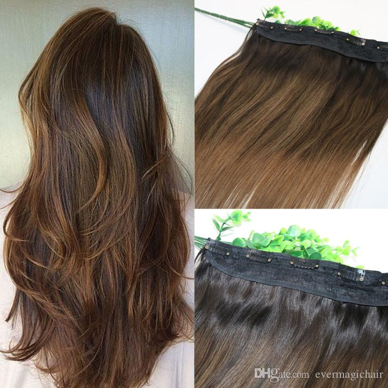 One Piece Clip In Human Hair Extensions 5clips With Lace Straight