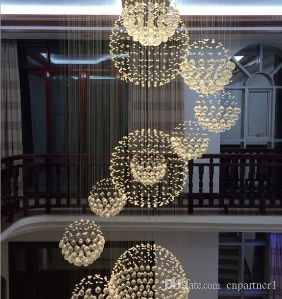 Luxury High quality K9 crystal Large Ceiling Light Fixture for Lobby, staircase stairs, Long spiral Chandelier Light lustre pendant lamp