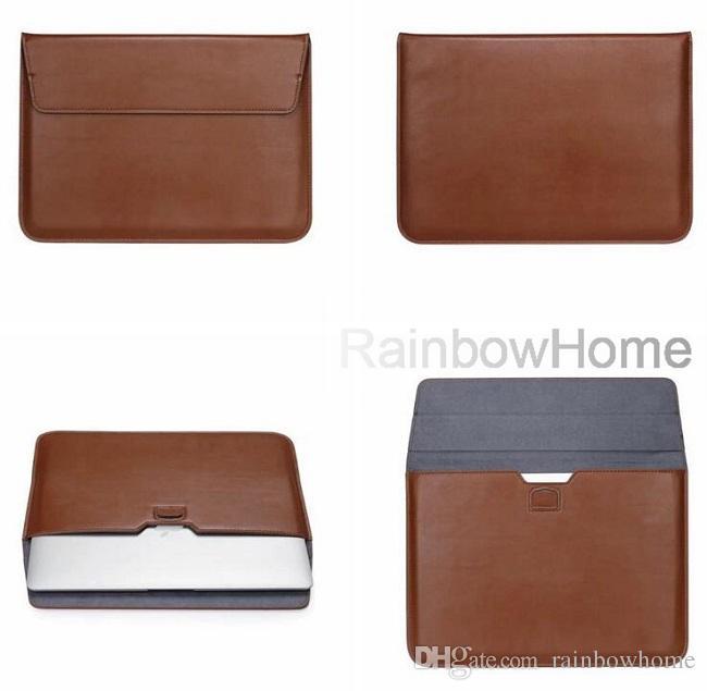 Bolsa em couro premium PU Bolsa de transporte Bolsa para Macbook 11 12 13 15 polegadas feltro Envelope Universal Laptop saco de armazenamento à prova de choque