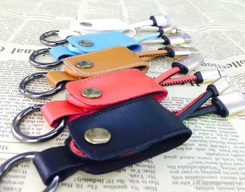Cavo dati in pelle caricabatterie USB Keychain 2A USB veloce samsung S7 S8 android phone