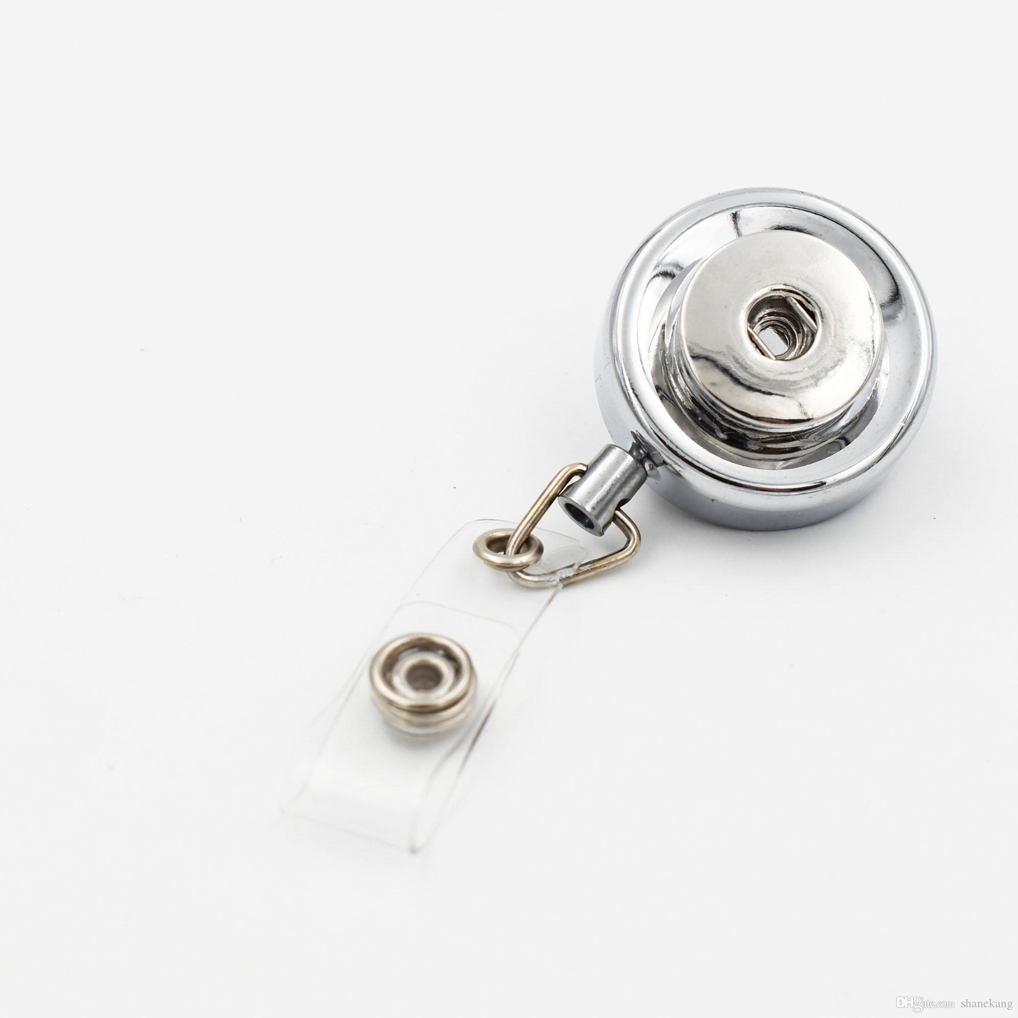 3 stili Badge Holder Portachiavi Id cordino retrattile bobina del distintivo Key ID carta della clip Anello cordino modifica di nome del carta Fit 18MM Snap Charm