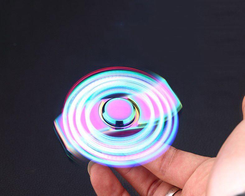 LED Zinc Alloy Spinner Fidget Electric cigarette Lighter Rechargeable USB Cool Light Up Hand Finger Spinner fidget Adult Gift