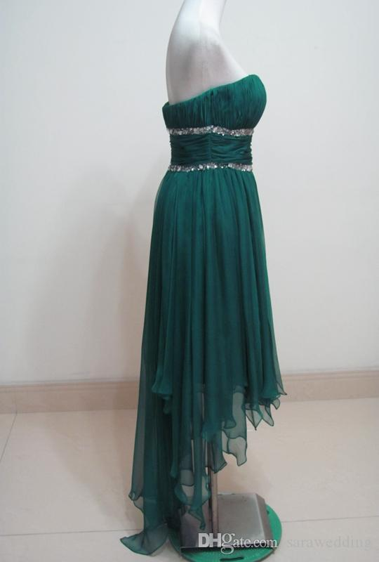 Beaded Chiffon High Low Bridesmaid Dresses 2018 Modest Bridesmaid Gowns New Green Country Wedding Party Dresses