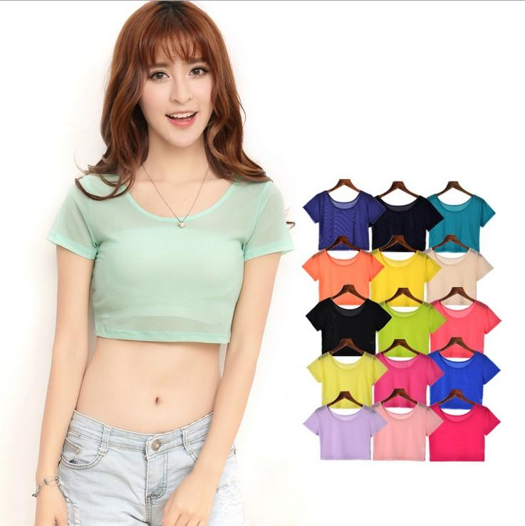 3b92305a81a343 Wholesale-Women Semi-transparent Mesh Crop Tops Girl Short Sleeve T ...