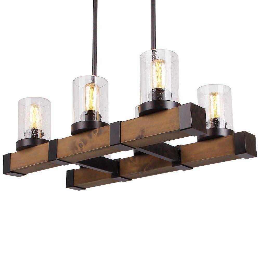 Großhandel Metall Holz Und Glas Kronleuchter, Pendent Licht Für ...