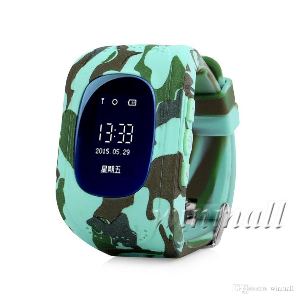 2017 New Camouflage OLED Q50 OLED GPS Tracking Watch For Kids SOS Emergency Smart watch Wearable Devices Finder Locator Tracker