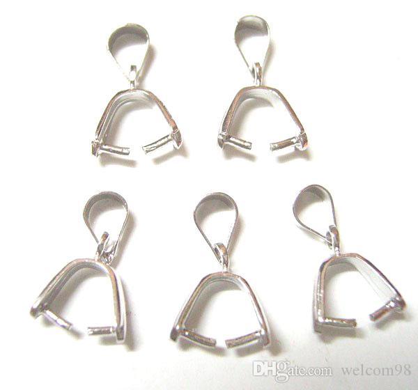 10st / parti 925 Sterling Silver Pinch Clip Bail Clasps Hook för DIY smycken hänge Craft W19