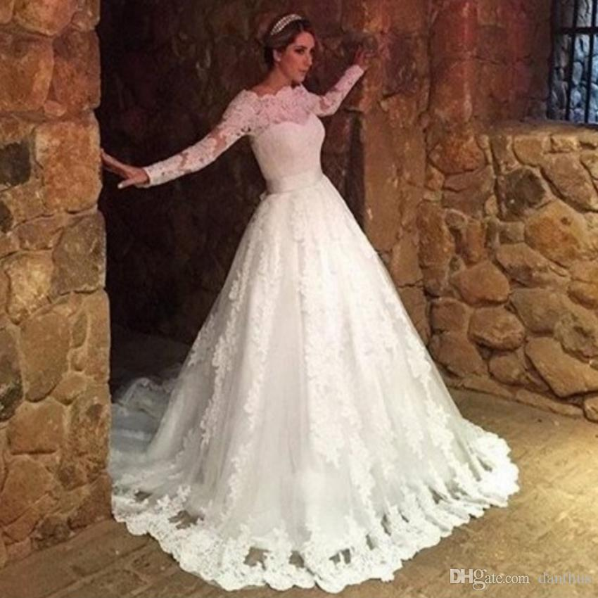 Muslim Elegant Lace High Neck Long Sleeve Wedding Dress Arab A Line ...
