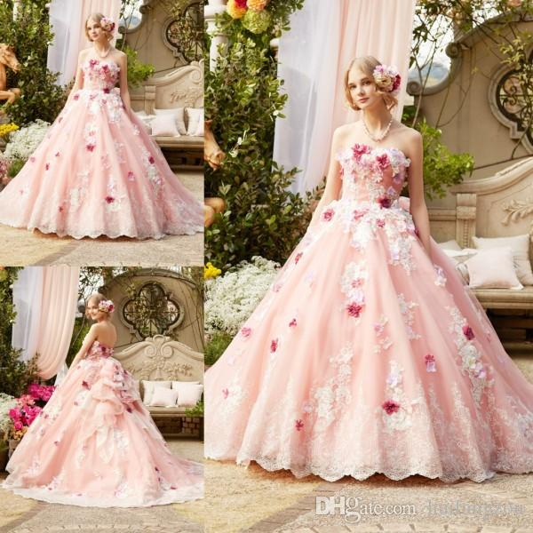 Princess Blush Pink Wedding Dresses 3d Floral Appliques Strapless Bridal Ball Gown Sheer Tulle Sweep Train Gowns Dress