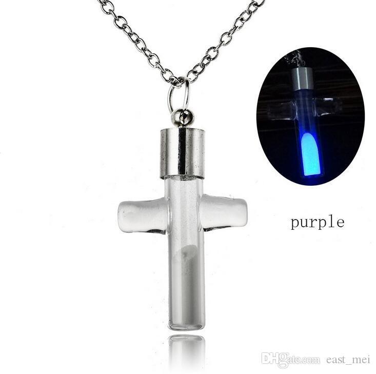 Creativo Crystal Drift Bottle Dolphin Croce Pepe Water Drop Light Bulb Collana di sabbia WFN136 con catena ordine della miscela 20 pezzi molto