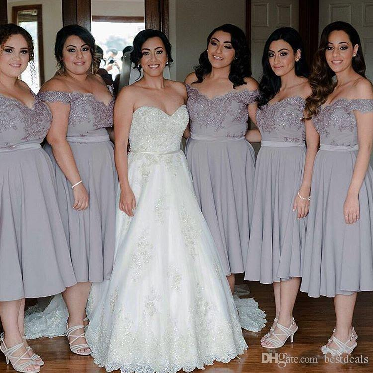 2017 Off Shoulder Grey Bridesmaid Dresses Tea Length A Line Crystal Beaded Bridesmaids Plus Size Formal Wedding Party Gowns