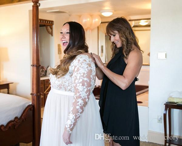 Plus Size Brautkleider Sheer Tüll Bateau Neck Illusion mit langen Ärmeln Spitze Applikationen Schärpe Maßgeschneiderte Brautkleider kurvige Bräute