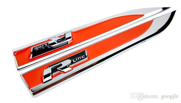 R Line Rline Metal Car Fender Lado Insignias Pegatinas Emblema Calcomanía Car Styling Accesorios Para VW POLO Golf 4 5 6 7 MK5 MK6 Jetta
