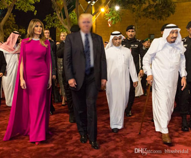 Мелания Трамп То же самое вечернее платье Саудовская Аравия Элегантная уважаемая «Обузти экскурсий» Формальное платье с длинной оберткой