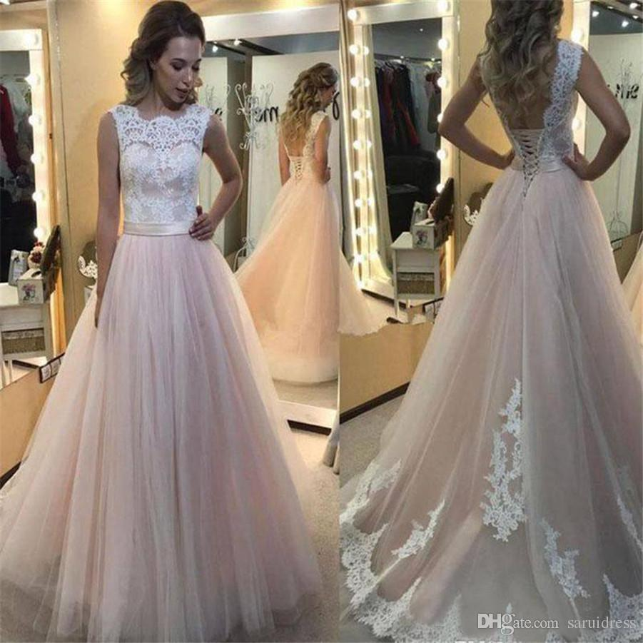 Discount A Line With Lace Up Back Bridal Gown South Africa Plus Size