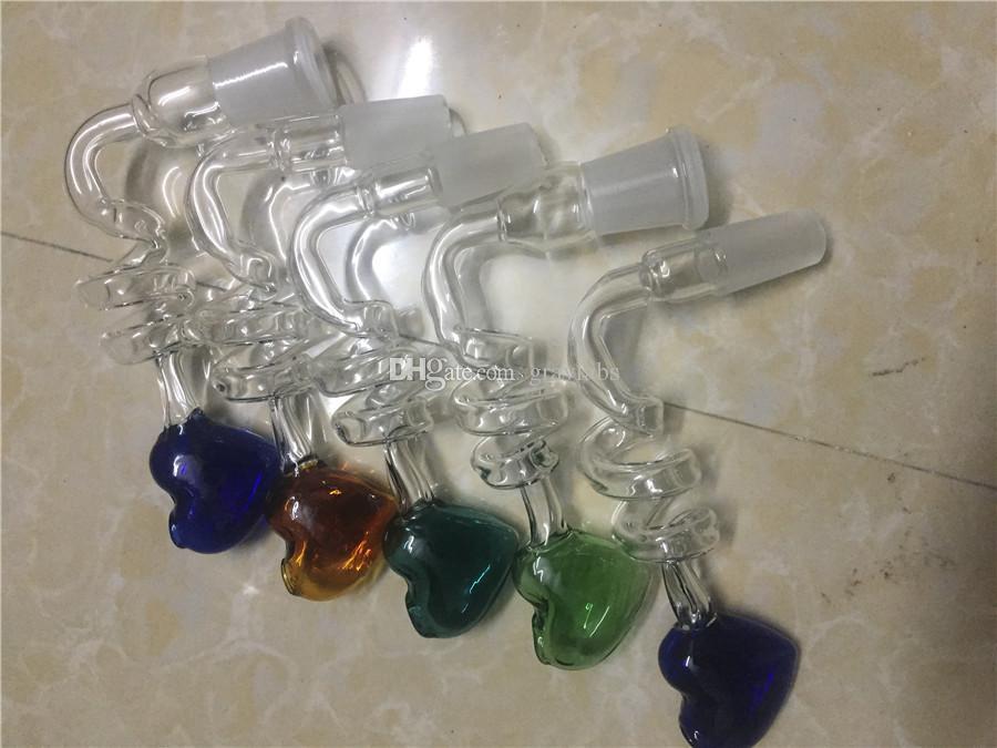 14mm / 18mm coloré mâle femelle verre bol helix coeur S forte tabac adaptateur joint verre adaptateurs bols pour des tuyaux d'eau en verre bong