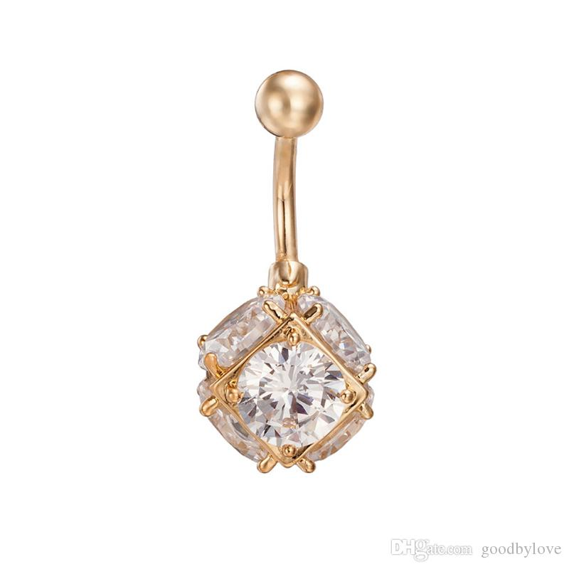 Fashion Body Jewelry White/Multicolor Cubic Zirconia CZ Square Ball 18K Yellow Gold Plated Navel Belly Button Ring for Party Gift