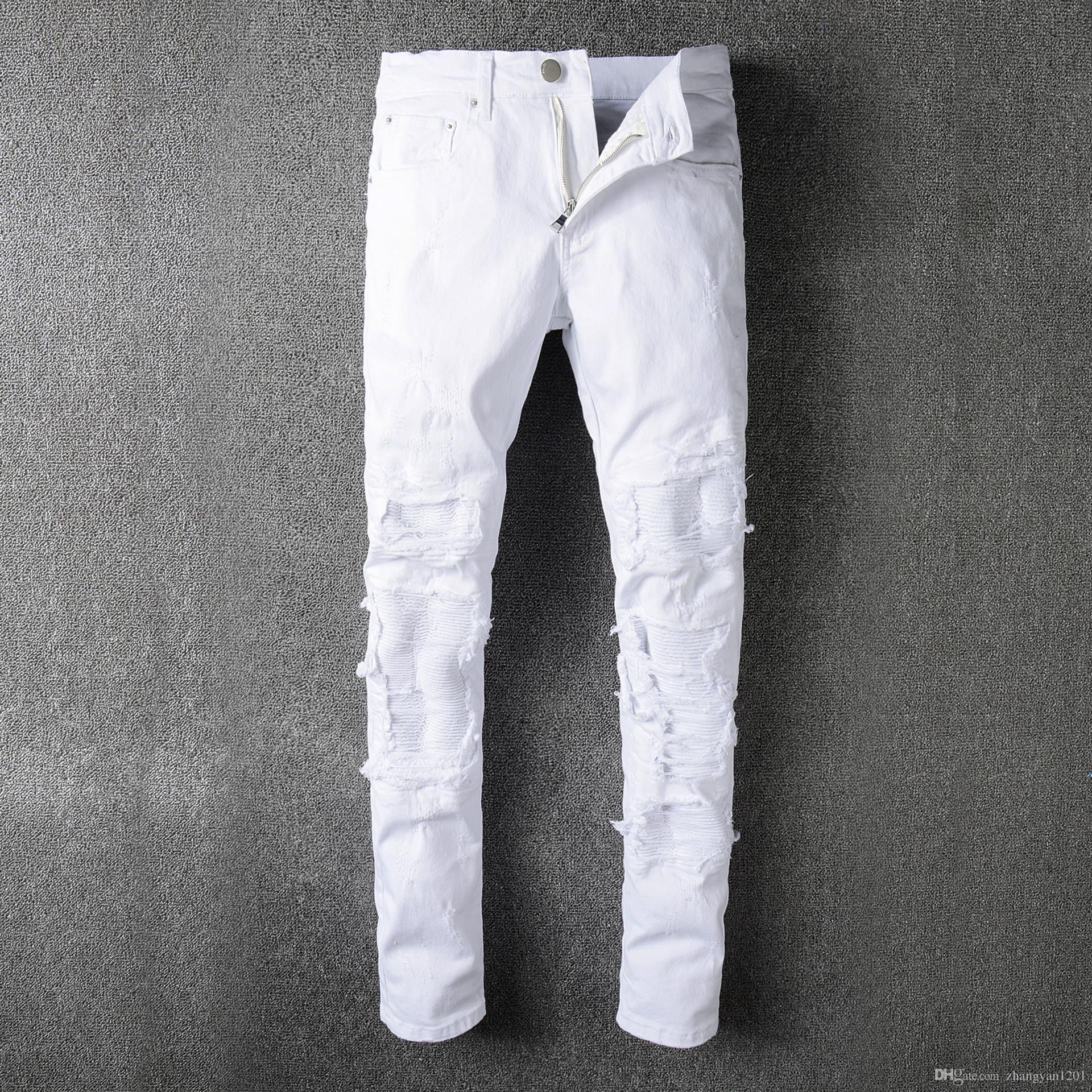 ebe74c52c3058 Compre Pantalones Vaqueros Rotos Blancos Para Hombres Diseñador De La Marca  JUSTIN BIEBER Motocicleta Moto Biker Causal Denim Pantalón Para Hombre Rock  Star ...