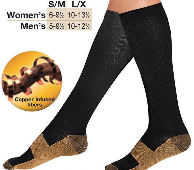 Unisex Miracle Copper Compression Socks Knee Anti-fatigue Leg Slimming Socks For Men And Woman Men's Socks