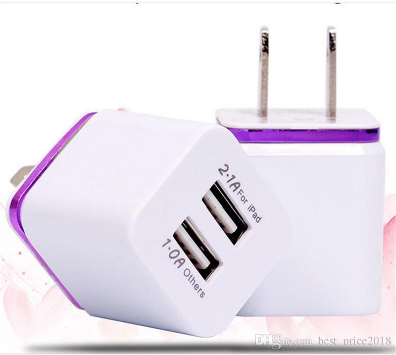 Metal Início Carregador US EU Plug dupla 2.1A USB AC Power Adapter carregador de parede plug 2 portas para Samsung LG