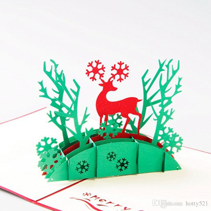 2019 3d Pop Up Holiday Greeting Cards Santas Sleigh Deer Christmas Gift Jewelry & Watches