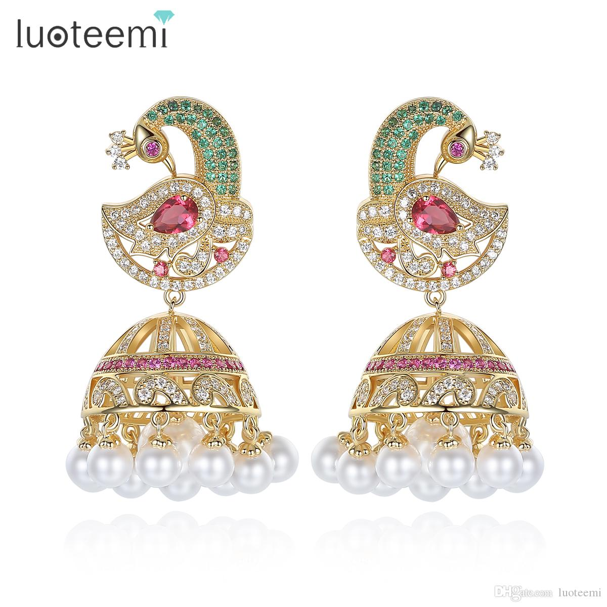 antique indian ethnic jhumka jhumki earrings with white created