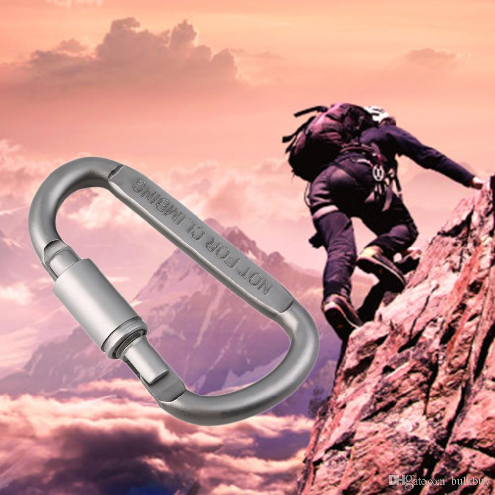 8* 4.2cm Outdoor Sports Aluminium Alloy Safety Buckle Keychain Climbing Button Carabiner Camping Hiking Hook wholesale