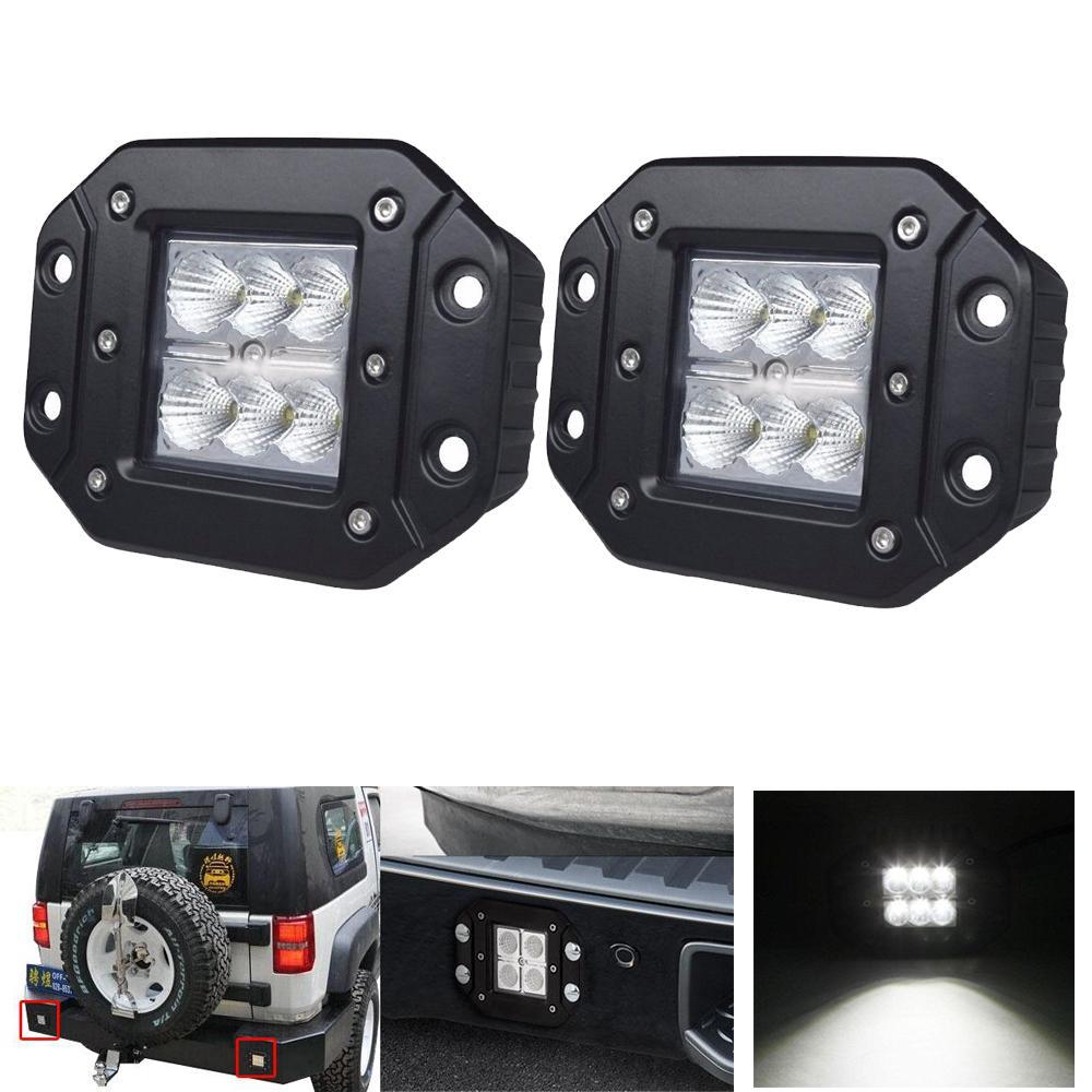 18w Flush Mount Led Work Light Bar 12v 24v Rear Fog Lamp 4x4