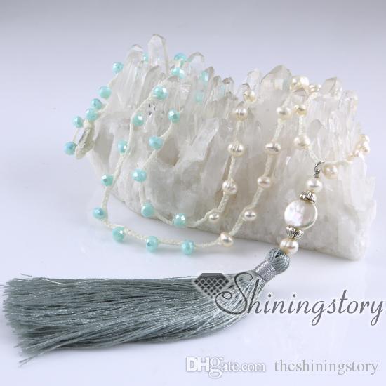 colar de pérolas cultivadas jóias boêmio frisada borla colares longo boho colar on-line de água doce verdadeira pérola jóias