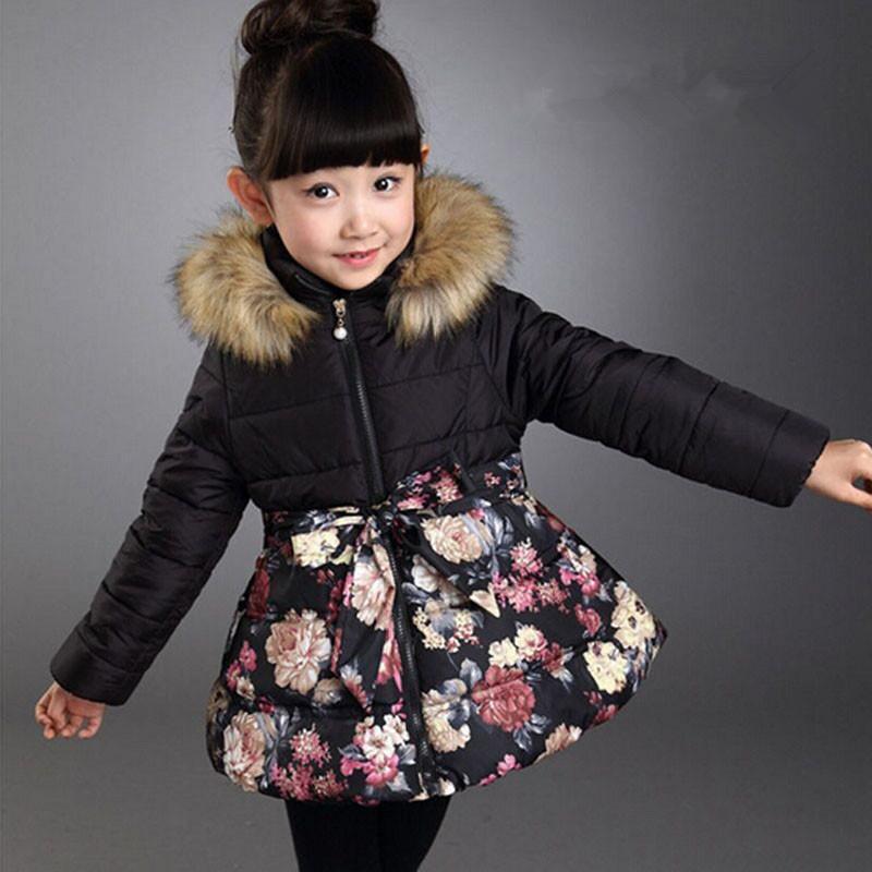 Winter Girls Coats Children Flower Down Jackets Long Outerwear ...