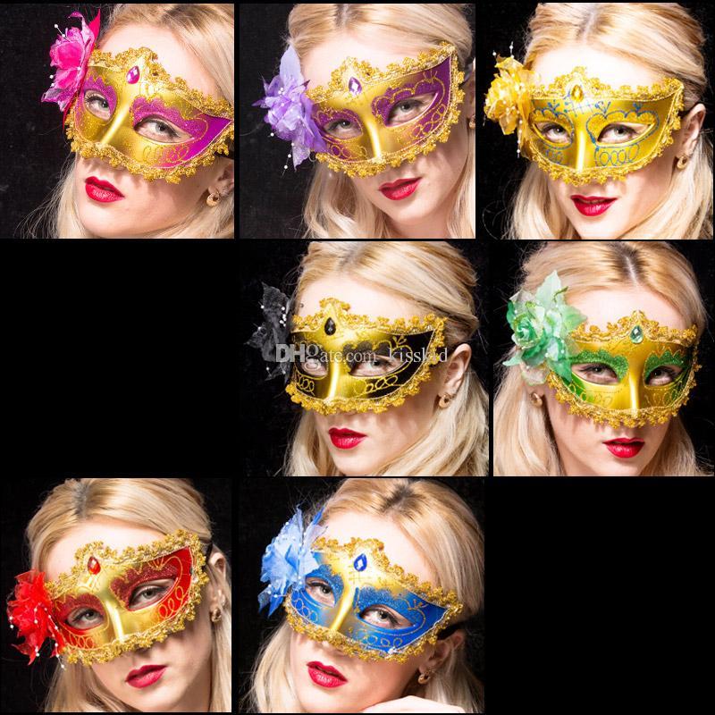 10 stücke Venezianische Maskerade Rose Frauen Maske Halbe Gesicht Weibliche Masken Halloween Ball Party Multi farben Hotpink / gold / rot