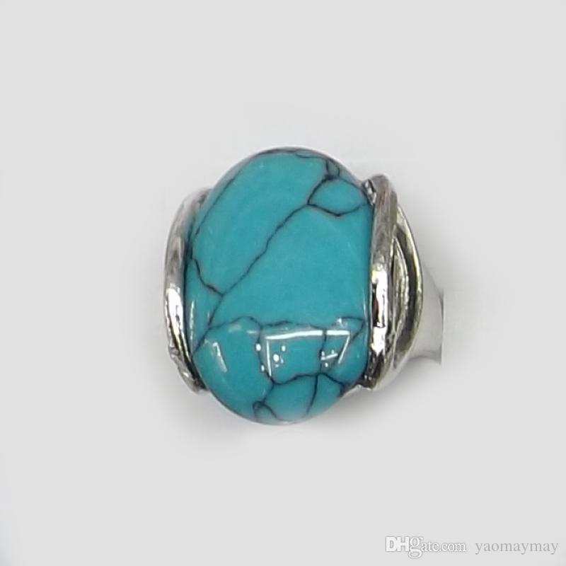/ Reine Taille Haute Qualité Naturelle Semi-précieuse Pierre Anneaux Inclure Turquoise, Opale, Rose Quartz, Etc