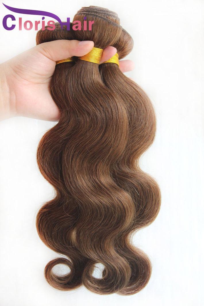 Gümrükleme Satış 3 Parça Vücut Dalga Malezya İnsan Saç Dokuma Paketler # 4 Koyu Kahverengi Samanyolu Atkı Ucuz Bodywave Saç Uzantıları