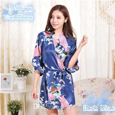 14 Farben S-XXL Sexy Frauen Japanische Seide Kimono Robe Pyjamas Nachthemd Nachtwäsche Gebrochene Blume Kimono Unterwäsche D718