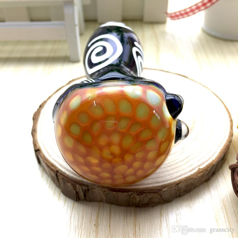 11cm Length quality hand made Glass Spoon pipes Smoking pipe glass hand pipes bubblers erietiform glass pipes