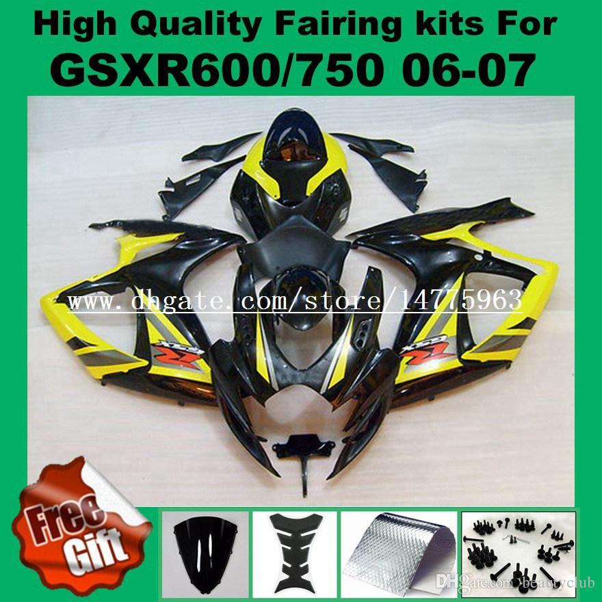 Kits de carenado negro amarillo pintado para SUZUKI GSXR600 06 07 GSXR750 K6 K7 GSX-R600 GSX-R750 2006 2007 GSXR 600 750 06 07 # V52J carenados