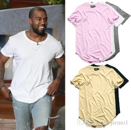 bdc28620 New Fashion kanye more color Men's Clothing White long t shirt Hip hop  StreetWear t-shirt Extra Long Length Tee Tops long line tshirt