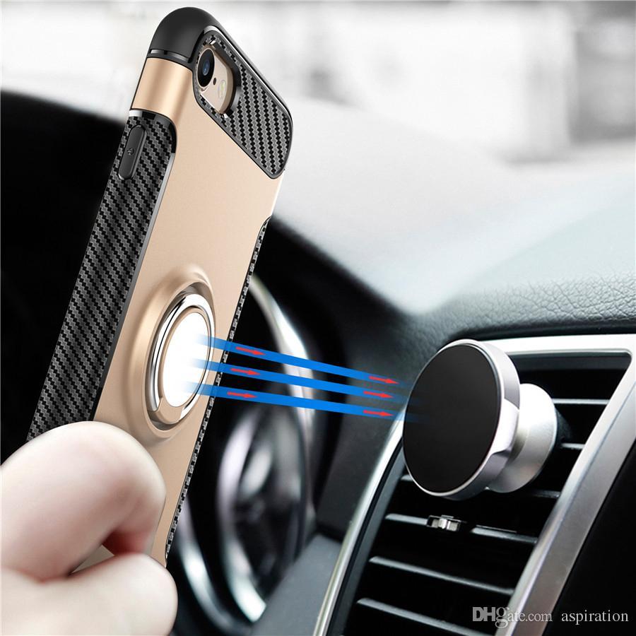 Estuche de armadura híbrida para Apple iPhone 6 6S 7 Plus / Samsung S8 Plus 2 en 1 Estuche de teléfono para PC TPU empuñadura giratoria de 360 grados
