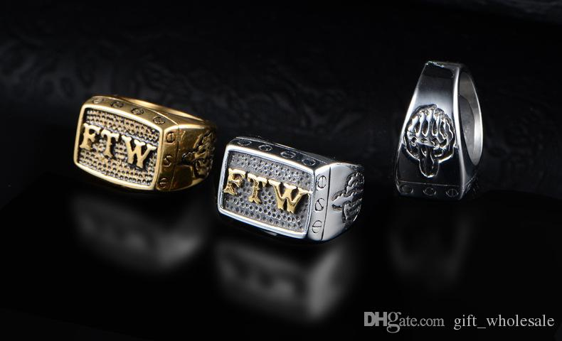 Wholesale FTW Middle Finger Motor Biker Ring Stainless Steel Jewelry Mechanical Screw Motorcycle Biker Men Ring