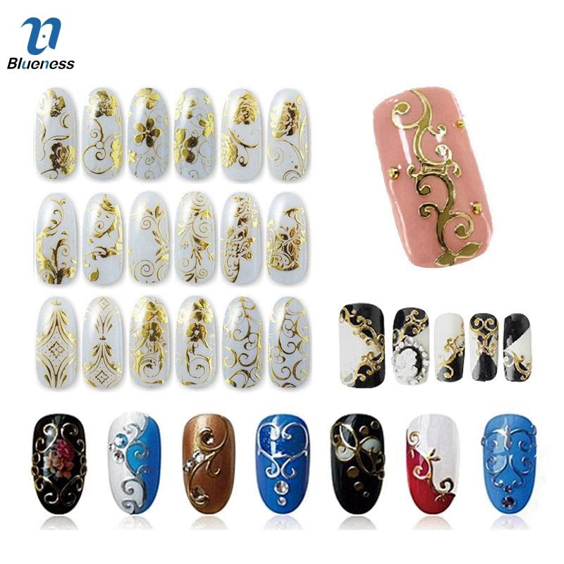 Wholesale Gold Silver 3d Nail Art Stickers Nail Decoration Design