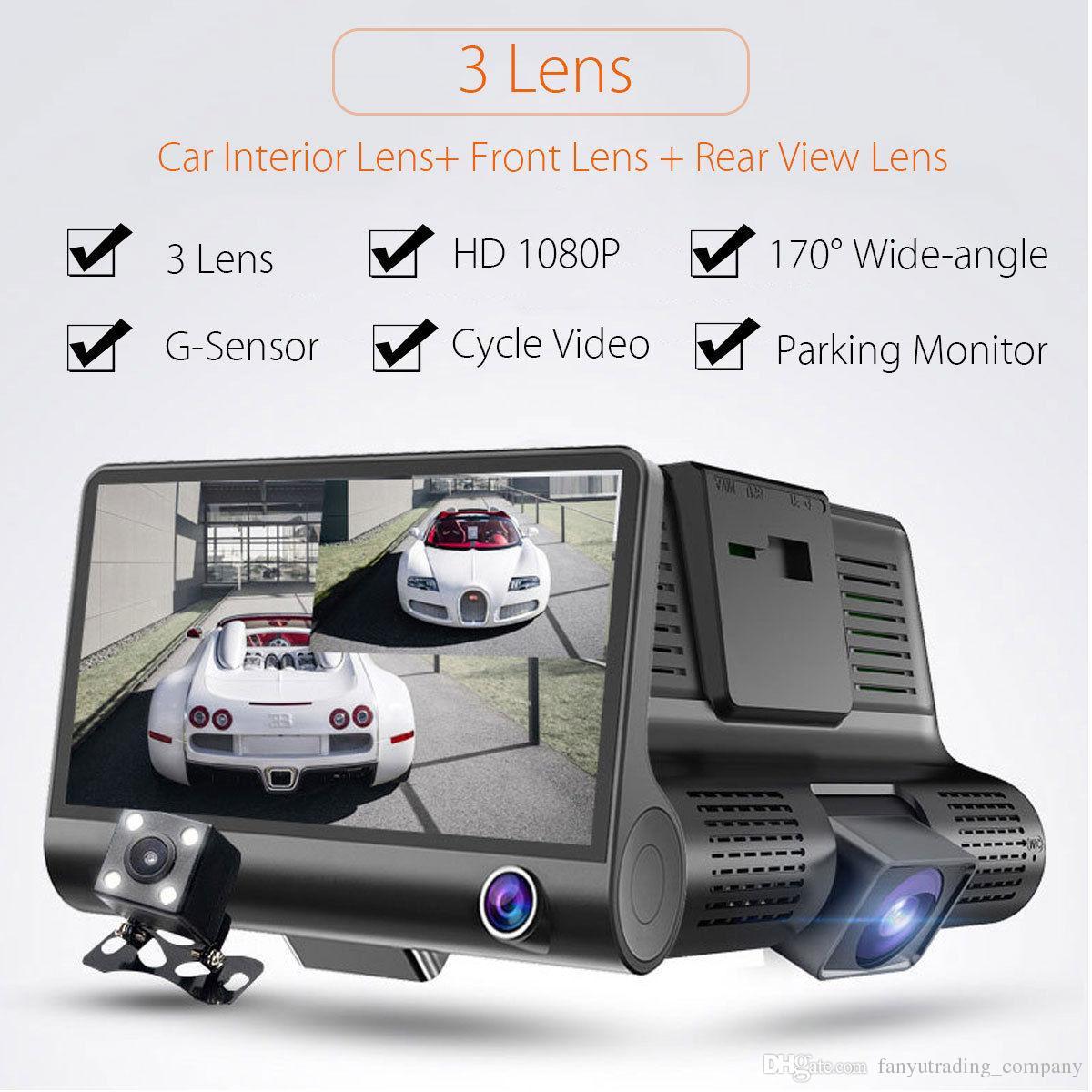 2019 4``1080P HD 170 ° 3 렌즈 자동차 DVR 대시 캠 G 센서 레코더 + 백미러 카메라 무료 배송
