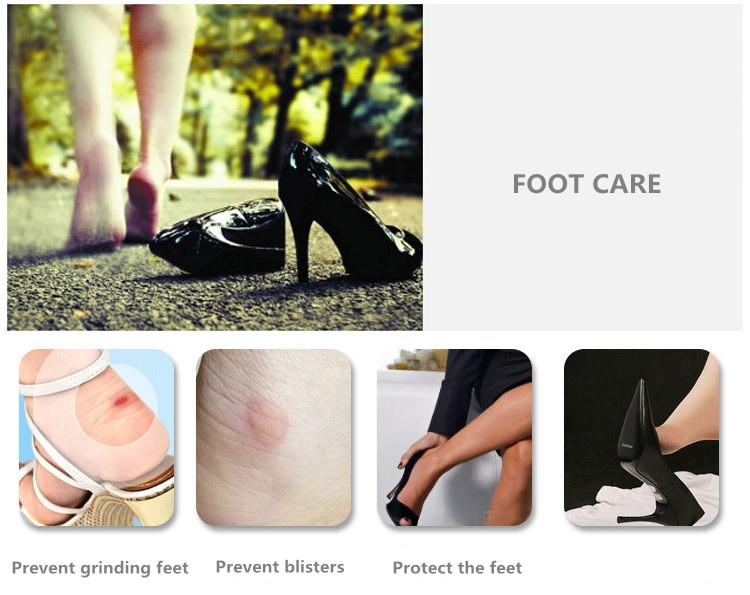 Fashion Massage Heel Pad Silicone Inserts Soft Sticky Silica Gel Fabric Shoe Pads Liner Grips Back Heel Inserts Insoles