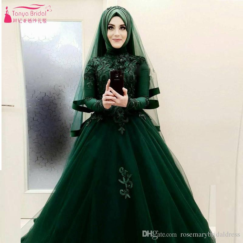 Discount amazing beautiful dark green wedding ball gowns african discount amazing beautiful dark green wedding ball gowns african hijab bridal dresses long sleeve vestido de noiva designer gown discount bridal gowns from junglespirit Image collections