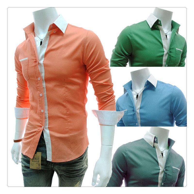 2017 Designer Shirts Men Fashion Candy Color Men'S Luxury Simple ...