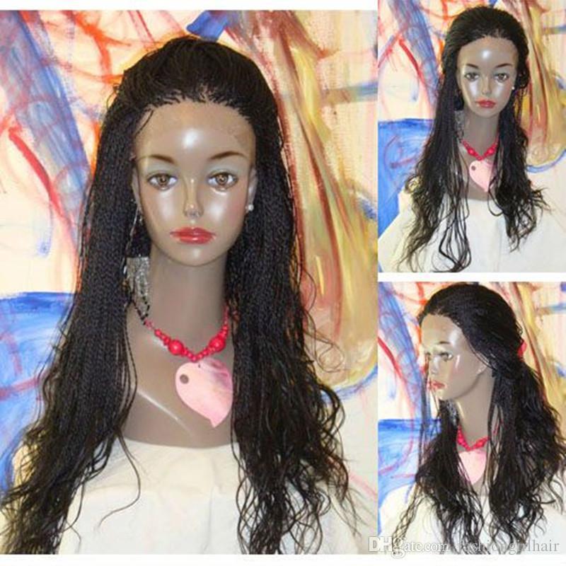 10-30 인치 Senegalese 트위스트 레이스 앞 가발 긴 브레이드 가발 합성 꼰 레이스 가발 글루리스 내열 머리 여성 가발
