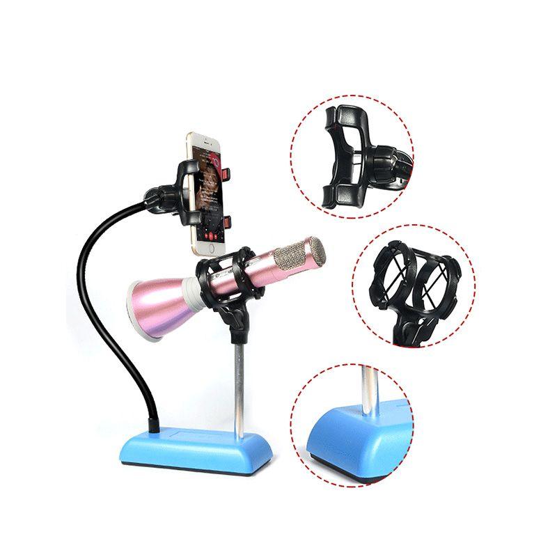 Universal Studio Microphone Mic Desk Desktop Stand Adapter with Clip Finefun Mobile Phone Live Holder Bracket Flexible Mount